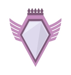 Pink shield crown winged shape geometric badge vector