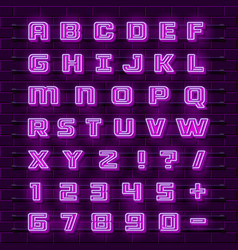 Neon font city neon purple font english city vector