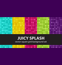 Square pattern set juicy splash seamless tile vector