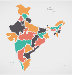 Indian map with regions and modern round shapes vector