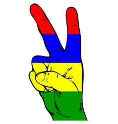 Peace sign of the mauritius flag vector