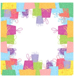 Colorful sale gift boxes celebration frame card vector