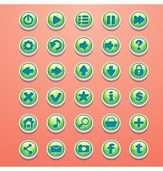 Big set of round buttons cartoon green for the vector