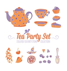 A set of party objects for tea time vector