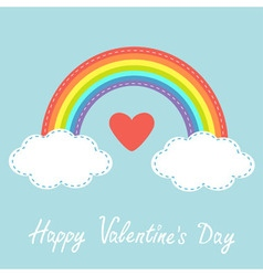 Happy Valentines Day Love card Red heart Rainbow vector image