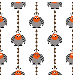 Pattern with comic colorado beetle vector