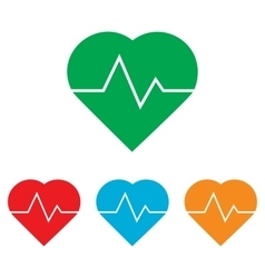 Heartbeat sign colorfull set vector