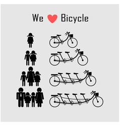 Family icon with bicycle vector
