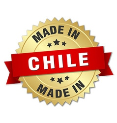Made in chile gold badge with red ribbon vector