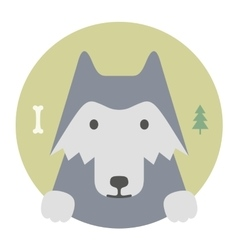 Animal set portrait in flat graphics wolf vector