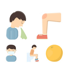 a foot with a bruise in the knee sneezing sick a vector image
