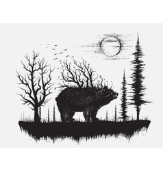 Abstract bear in the strange forest vector