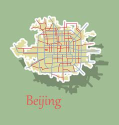 Beijing city map sticker vector