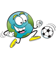 Cartoon soccer earth vector