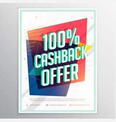Cashback discount brochure flyer template with vector