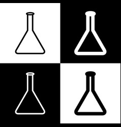 Conical flask sign black and white icons vector