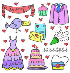 Doodle of wedding element set vector