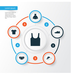 Dress icons set collection of singlet casual vector