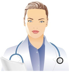 Female doctor in a white vector image vector image