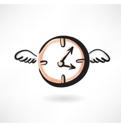 Flying clocks grunge icon vector image vector image