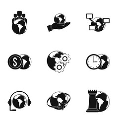 Global comunity icon set simple style vector