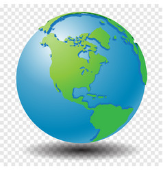 Globe with wold map on transparency grid america vector