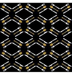Gold restaurant utensil icons seamless pattern vector image vector image