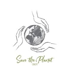 Hand drawn globe between three caring human hands vector image vector image