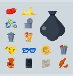household waste garbage icons vector image