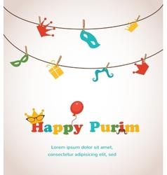 Jewish holiday purim greeting card design vector