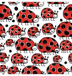 Ladybird family seamless pattern for your design vector image