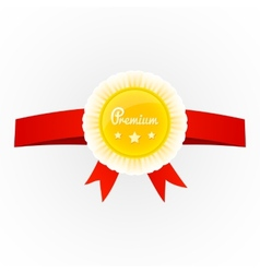 metal premium round badge on red ribbon isolated vector image