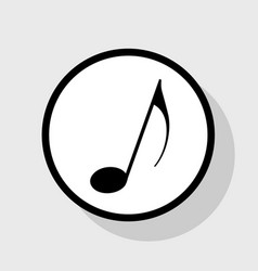 Music note sign flat black icon in white vector