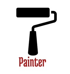 Paint roller tool black silhouette icon vector image