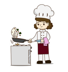 Pretty chef making delicious food she tossing vector