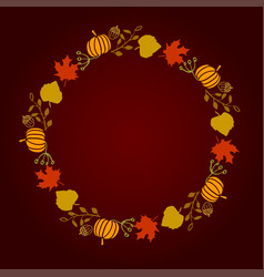 round wreath of autumn leaves vector image vector image