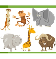 Safari animals cartoon set vector
