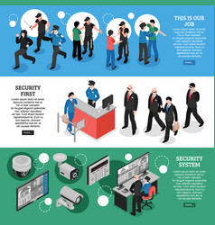 security isometric banners vector image