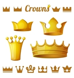 Set 2 of royal gold crowns isolated on white vector image vector image