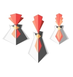 Set of logos with roosters rooster head vector