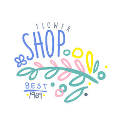 Shop flower best 1969 logo template colorful hand vector