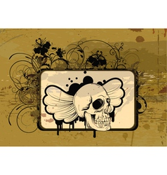skull with floral vector image vector image