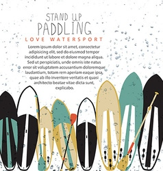 stand up paddle set in flat design style vector image vector image