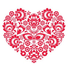 Valentines day folk art red heart- polish pattern vector
