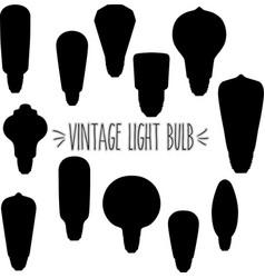 vintage light bulb silhouette vector image
