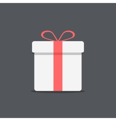 white gift box icon on dark background vector image