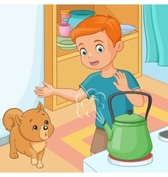 Young boy is being wary of hot kettle vector