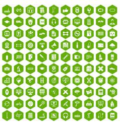 100 training icons hexagon green vector