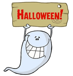 Holding up a wooden halloween sign vector