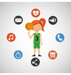 Sport girl basketball athlete graphic vector